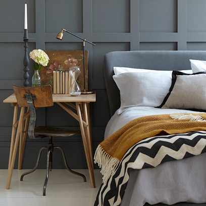 Grey Panelled Walls Grey Bedroom Ideas Decorating With Grey Square