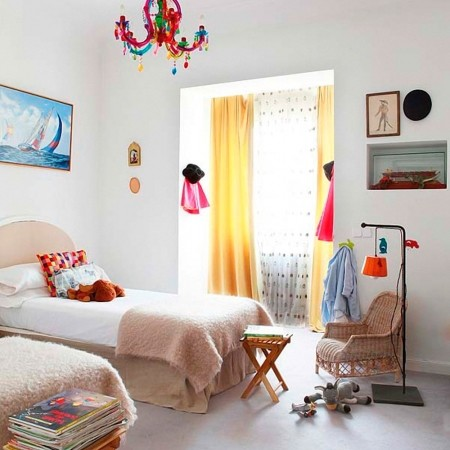 The twee free guide to girls bedrooms Red line #2: cool girls bedroom decorating ideas kids childrens room not pink neutral white neon pink chandelier colourful bedding vintage cool retro style square