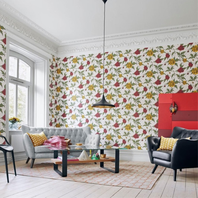 Floral Wallpaper. Living Room Part 88