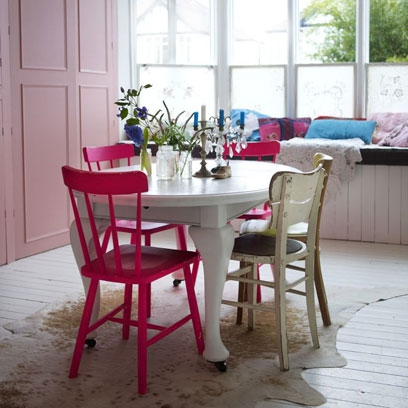 Pink Furniture In Bold Colour Dining Room
