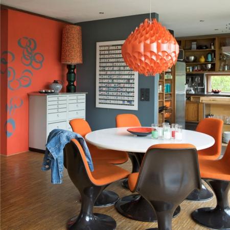 Modern retro dining room red online - Vintage dining room ideas ...