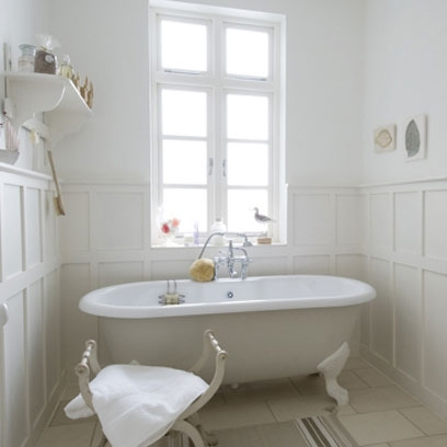 White wooden tongue and groove bath panel
