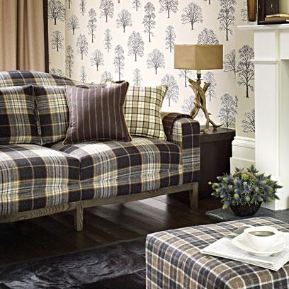 Tartan fabric using colour and pattern decorating ideas for Tartan living room ideas