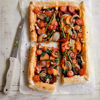 Rustic Vegetable Tart With Spinach Pesto