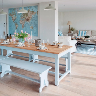 Decorating with pastel colours red online for Duck egg dining room ideas