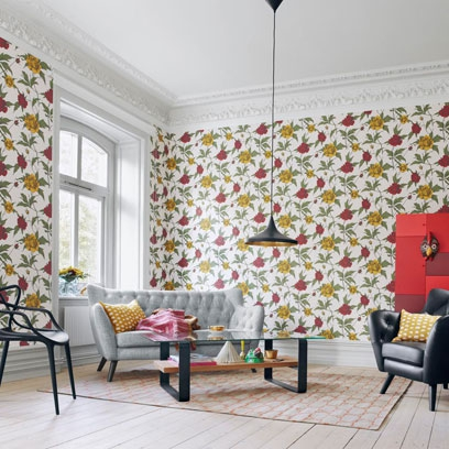 Decorating with florals using colour and pattern red for Bright wallpaper for living room