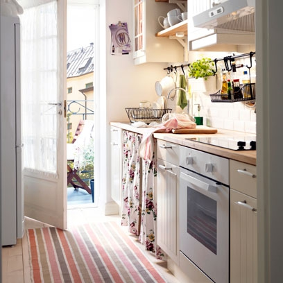 Small space ideas red online for Galley kitchen ideas uk