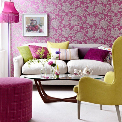 Fuschia Pink Floral Wallpaper