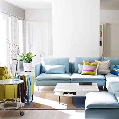 pale blue l shaped sofa small living room ideas decorating ideas