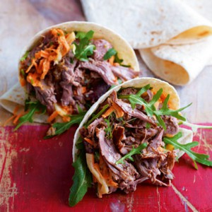 Pulled shoulder of lamb with fennel, carrot and chilli slaw