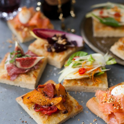 Seasonal sharing flatbread canap recipes red online for Canape toppings ideas