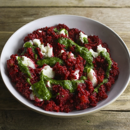 ... Hemsley Quinoa goat's cheese beetroot risotto with parsley lemon oil