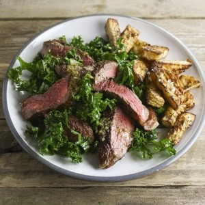 Riverford Hemsley + Hemsley Steak kale salad with celeriac chips