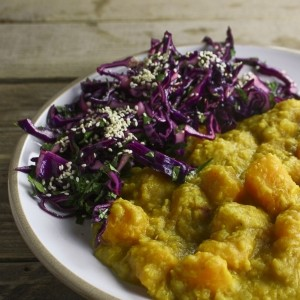 Riverford Hemsley + Hemsley squash dahl with sesame cabbage slaw
