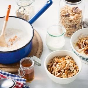 Davina's homemade granola with whole milk