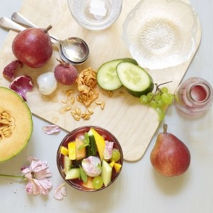 Soothing Fruit Salad with a Rosewater and Pomegranate Syrup