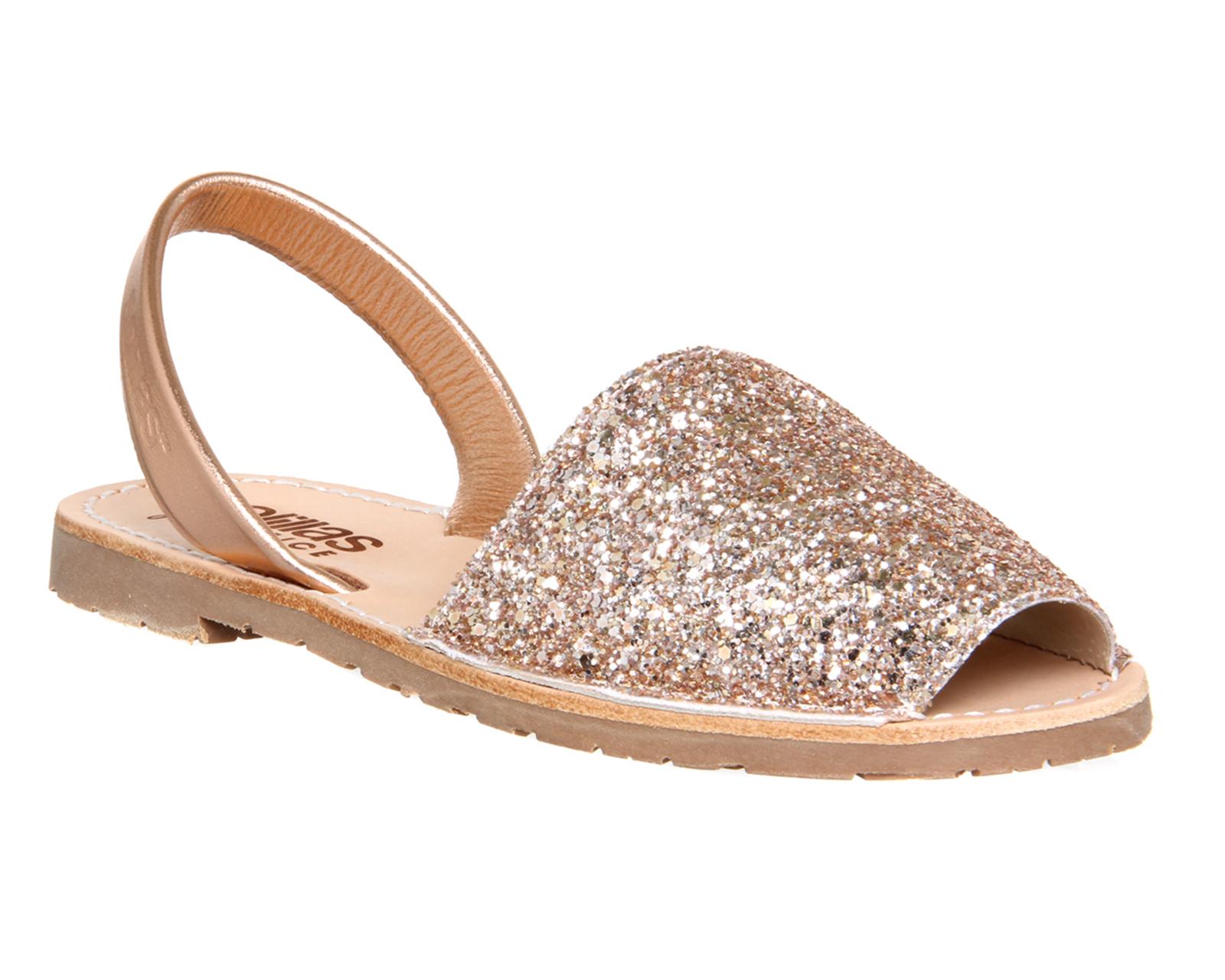 Gold Glitter Slip On Shoes