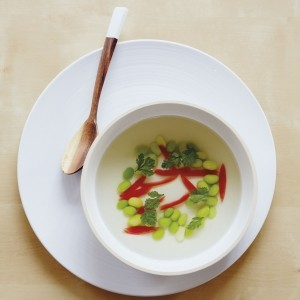 Clear tomato and coconut soup