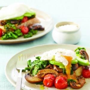 Mushroom, Tomato, Avocado and Poached Egg on Toast