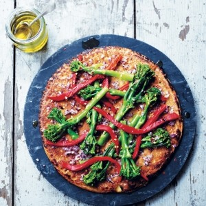 Farinata with red pepper and tenderstem broccoli
