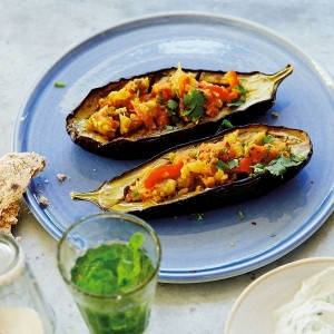 Stuffed aubergines with tzatziki and spelt flatbreads