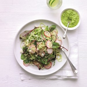 Cucumber noodle salad with fennel, chard and quinoa