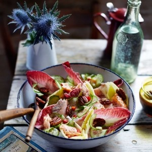 Salmon and chicory salad with ginger dressing