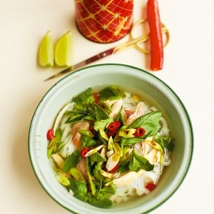 Chicken faux pho with rice noodles