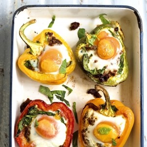 Amelia Freer's roasted peppers with baked eggs