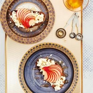 Sabrina Ghayour's Pear, Feta and Honey Toasts