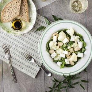 Warm cauliflower, butter bean and feta salad