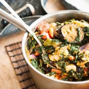 Kale, Pumpkin Seed and Potato One Pot Dinner