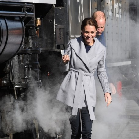 William and Kate precariously edge along vintage steam train tracks on Canada tour