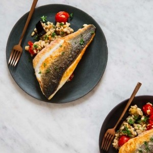 Sea Bass with Tomato, Aubergine and Pearl Barley