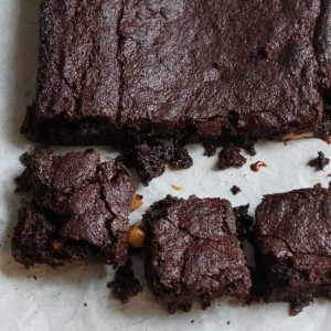 Salted caramel gluten free chocolate brownie