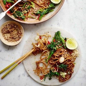 Pad thai jay with lime and sesame