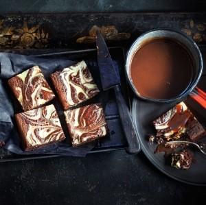 Black velvet brownies with stout caramel sauce