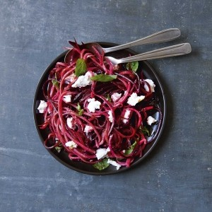 Beetroot with fresh goats' cheese and basil