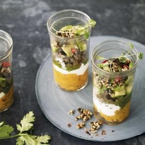Layered lentil and sweet potato jars
