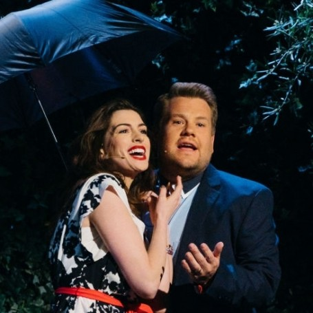 Anne Hathaway and James Corden performing a rom com will make your day