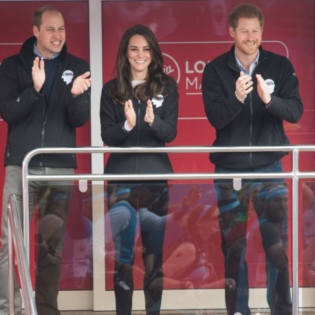Kate, William and Harry showed their support at the London Marathon