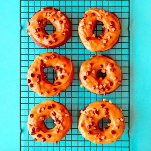 Peanut fudge chocolate ring doughnuts
