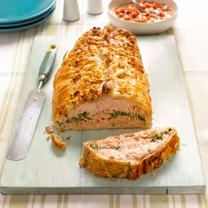 Salmon En Croute Is The Perfect Meal To Serve For Dinner Parties As It Can Be Prepared Up 12 Hours In Advance Served With A Simple Salad