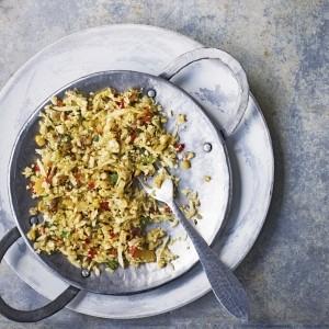 Vagharela bhaat: cauliflower rice with grilled corn
