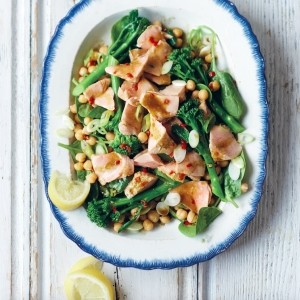 Matcha poached salmon, broccoli and chickpea salad