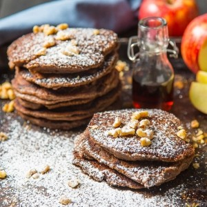 Vegan chocolate and banana protein pancakes