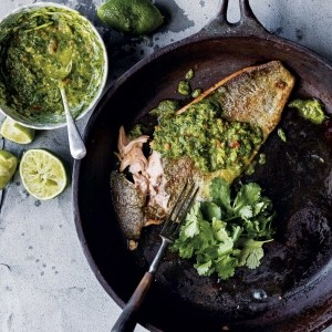 Crispy trout with Asian salsa