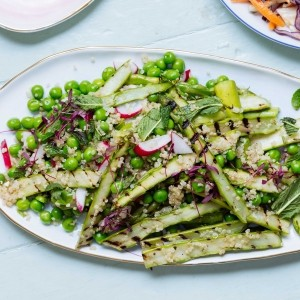 Grilled asparagus, quinoa and mint salad