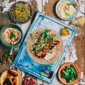 Moroccan BBQ wrap with spiced slaw