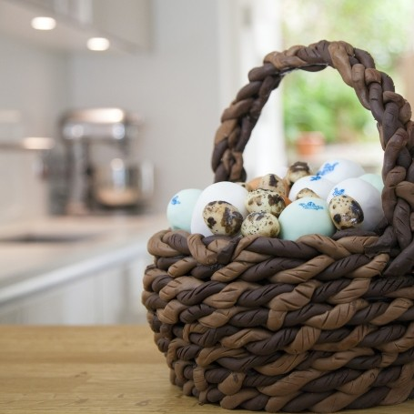 Clarence Court egg basket illusion cake